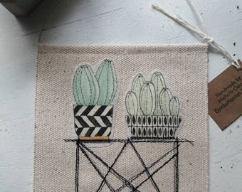 Cactus Canvas Banner wall hanging succulent succulents plants plant stand pottery cacti embroidery mcm table