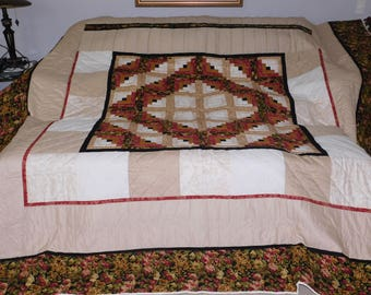 Queen Size, Amish Made, Hand Stitching - Unique, Framed Log Cabin Quilt