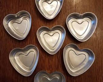 Set of 7 Vintage Aluminum Heart Molds