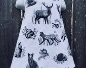 Pinafore Size 3T --- woodland Creatures (((ready to ship)))