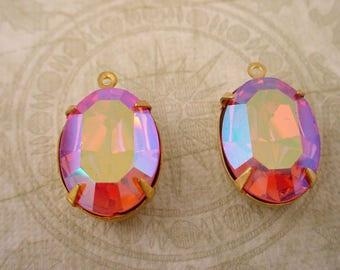 2 vintage Swarovski rhinestone rose ab aurora borealis  oval 18x13 brass   setting 1 ring charms
