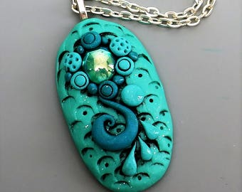Polymer Clay Pendant, Mermaid Pendant in Aqua Blue with Vintage Emerald Glass Cabochon, Ocean Theme Pendant