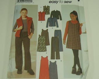 Simplicity Easy To Sew Girl's Jacket Or Vest, Pants And Jumper Pattern 9345 Size 7 - 16