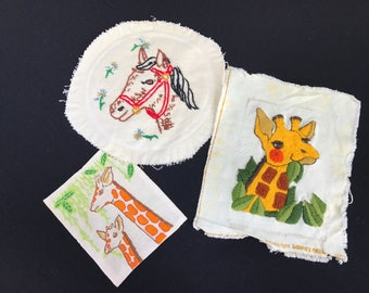 Lot of 3 Vintage Unframed Crewel Embroidery Giraffes and Horse Pictures