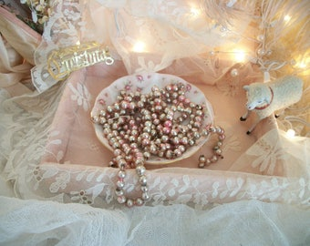 sweetly shabby pink mercury glass bead garland, old glass beads, pale pink fading to silver, fabulous well worn patina of age, french nordic