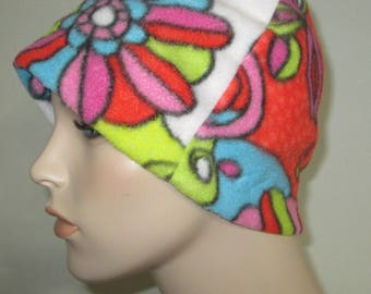 Chemo  Anti Pill Fleece Hat, 70's Print  Winter Hat, Cancer, Chemo Hat, Alopecia