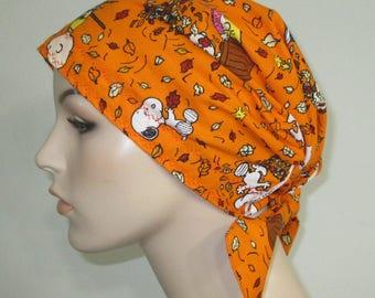 Scrub Cap  Chemo Scarf,Snoopy Fall Print  Hat, Cancer Hat, Hijab, Alopecia Turban Pediatric Nurses Hat