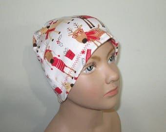 Kids Stretch Knit Xmas Reindeer  Children Size  Hat -Chemo, Cancer, Alopecia,Sleep Cap