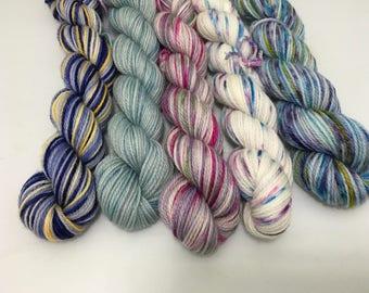 Sunrises - Fantasia-2017-07 - 250 Yards - Ready to Ship - Hand Dyed - Merino Wool Yarn - Fingering Weight - Mini Skeins