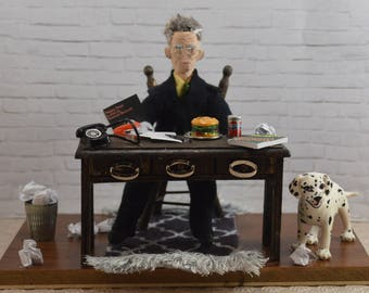 Samuel Beckett Diorama Art Irish Author Playwright Desk Decor Bookshelf Display
