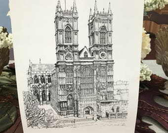 VINTAGE - Black and White Print - Westminster Abbey London England
