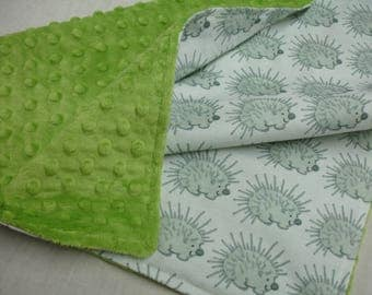 My Friend Spike Porcupine White Gray and Lime Minky Security Blanket 20 x 20 READY TO SHIP On Sale