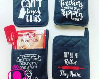Personalized Pot Holder - Christmas Gift - Teacher Gift