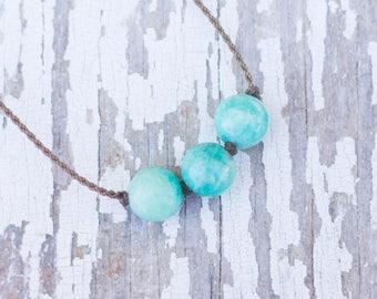 amazonite / big triple knotted / handspun ROPE necklace / waterproof / kid-proof / life-proof / bohemian / minimalist beauty /