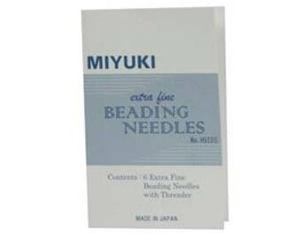 Miyuki Extra Fine Beeding Needles 6pc plus Threader JPN156