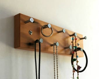 Recycled Modern Wood Jewelry Display Rack with Metal Hooks