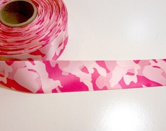 Camouflage Ribbon, Pink Single-Faced Camouflage Satin Ribbon 1 1/2 inches wide x 5 yards