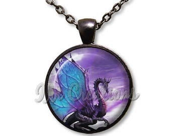 20% OFF - Blue Wing Dragon Fantasy Glass Pendant Necklace Square Round FT139