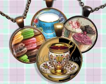 Tea Time Glass Pendant Necklace Jewelry Bundle Gift Party Favors Grab Bag Bulk Discount