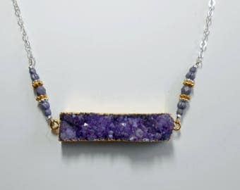 Druzy and Sterling Silver Purple Drusy Gold Necklace