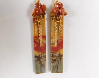 Picasso Jasper Earrings - Goldstone Earrings - Tourmaline Earrings - Long Earrings - Statement Earrings - Stone Earrings