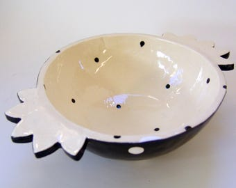 Black & White pottery Serving Dish, hand-painted graphic polka-dot Bowl, whimsical handles,