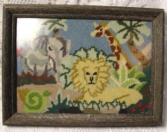 Vintage Needlepoint Framed Finished Complete Lion Giraffe Elephant Shabby Chic Cottage Childs Room