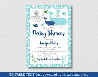 Cute Under The Sea Baby Shower Invitation / Whale Baby Shower / Nautical Baby Shower / Sea Animals / Editable PDF INSTANT DOWNLOAD A179