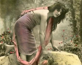 Vintage French Lady RPPC postcard -  VC023