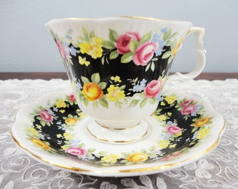 Royal Albert 'Fascination' Garland Series English Bone China Teacup and Saucer - Black with Bright Floral