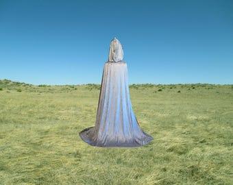 Silver Grey Velvet Hooded Cloak Cape Harry Potter Wedding  Halloween Costume Renaissance Festival
