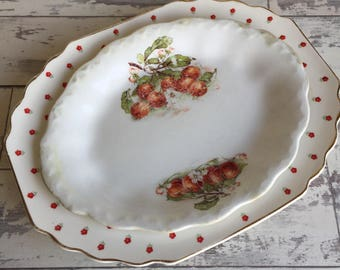 Vintage Platters - W S George Blushing Rose Red and Cherries Carnation McNicol China