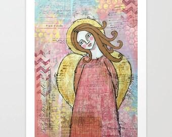Mixed Media Folk Art Angel