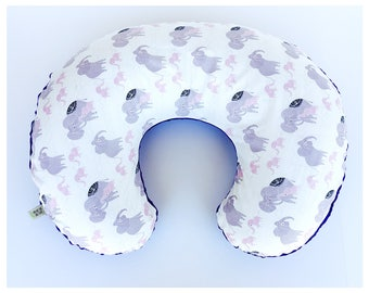 BOPPY NURSING PILLOW Cover / Zipper closure/ purple  minky dimples with Elephant  cotton print, modern baby nursery gift