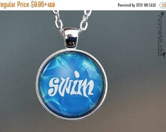 ON SALE - Swim : Glass Dome Necklace, Pendant or Keychain Key Ring. Gift Present metal round art photo jewelry by HomeStudio