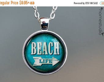 ON SALE - Beach Life : Glass Dome Necklace, Pendant or Keychain Key Ring. Gift Present metal round art photo jewelry by HomeStudio