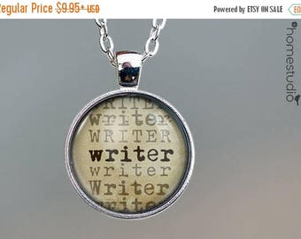 ON SALE - Writer : Glass Dome Necklace, Pendant or Keychain Key Ring. Gift Present metal round art photo jewelry by HomeStudio