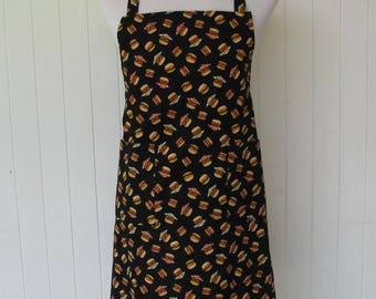 SALE - Mens, Unisex,  Full Apron, BBQ Style, Neck Loop, BBQ, Cookout, Mini Hamburgers on Black
