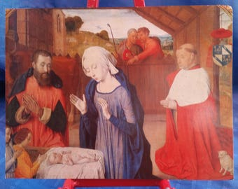 Lovely Print of NATIVITY, Blessed Virgin Mary, Baby Jesus, Saint Joseph, French Cardinal Jean Rolin, French Art, Holy Family, Christmas