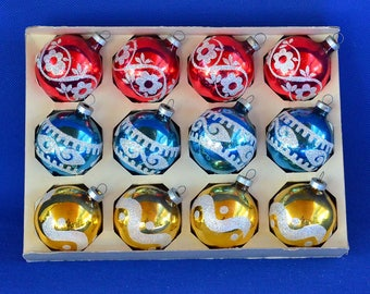 Vintage Holly Christmas Ornaments - Colorful Glitter Mercury Glass Ornaments – Set of 12 in Box - Holiday Decorations - Christmas Home Decor