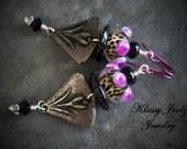 Pewter and Glass Lampwork Beaded Earrings-Flower Pewter Charms-Flower Earrings-Artisan Earrings-Tribal-Primitive-Rustic Earrings-SRAJD