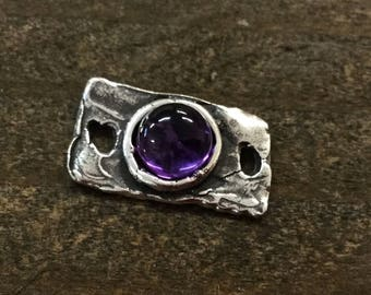 Link Cabochon Amethyst Rectangle Link Sterling Silver