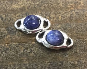 Sodalite cabochon Link Sterling Silver