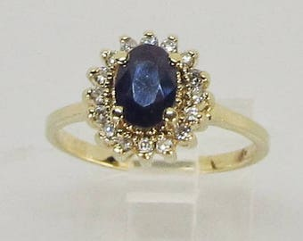 Sapphire and Diamond Ring 14Kt Yellow Gold