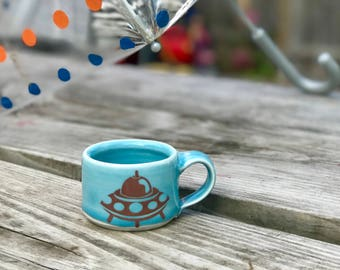 Kid sized cup - blue glaze - spaceship!