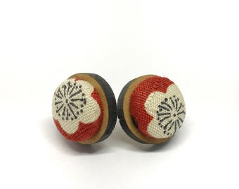 Timber Studs - Fabric Button Red Sakura