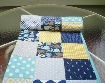 Baby quilt, Nautical Baby quilt, grey, navy, teal, yellow, Baby boy bedding, baby girl quilt, anchors, whale, chevron, crib, Whale Watching