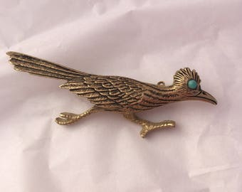 Meep! Meep! Turquoise jewel eyed signed GB roadrunner brooch