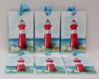 6 Lighthouse Tags with shells...Water color art tags...Special gift tags...Wedding gift tags...Bridesmaid tags...New Stampin'Up! stamps
