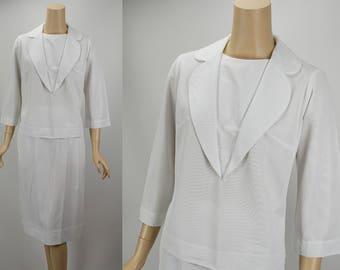 Vintage Nurse Waitress White Nylon Uniform Barco Two Piece B38 W26